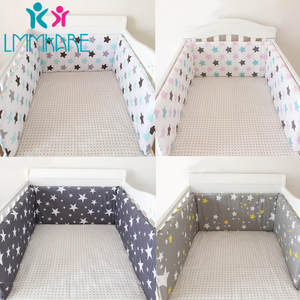 Crib Bumper Protector-Set Line Baby Bed Bebe-Cot Cotton Zipper Padded Rail-Cover Detachable