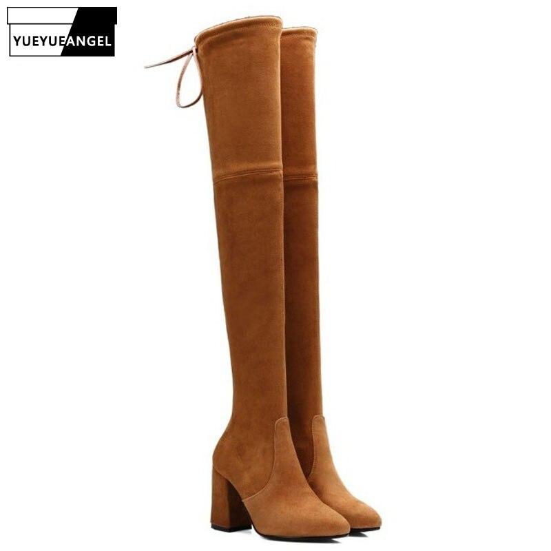Sexy Super haut talon femmes sur le genou bottes hautes Top marque vraie peau de mouton en cuir dame chaussures extensible sans lacet chaussures de femme