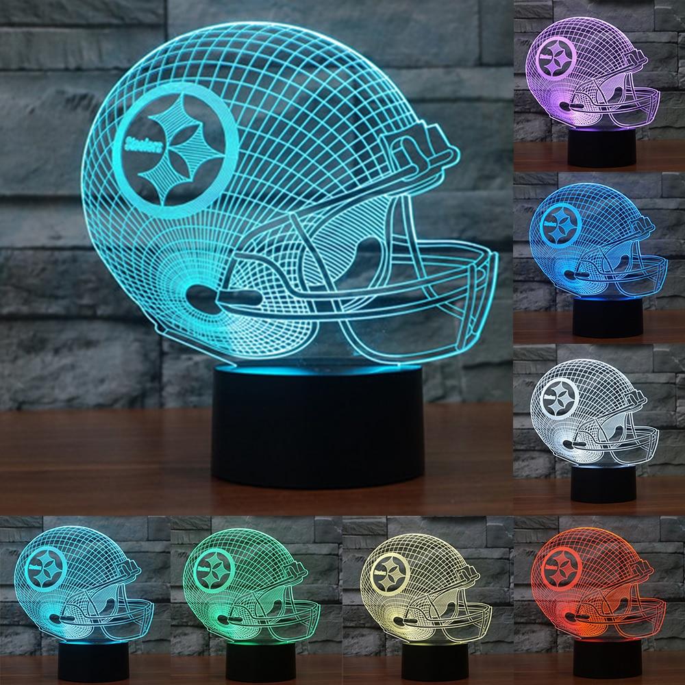 7 Colors Change 3D LED nightlight pittsburgh team steelers football helmet touch sensor USB light table lamp Home decor IY803649