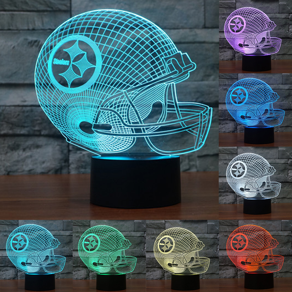 7 Colors Change 3D LED night light NFL team Pittsburgh Steelers football  helmet touch sensor USB table lamp Home decor IY803649. Wood Library Tables Promotion Shop for Promotional Wood Library