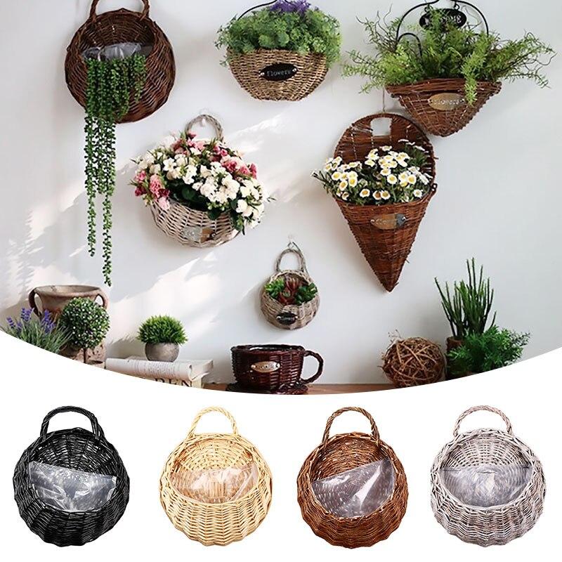 Panier suspendu avec poignée rotin fleur plante Vase mur couloir décoration plante cintre conteneur jardin plantation Pot