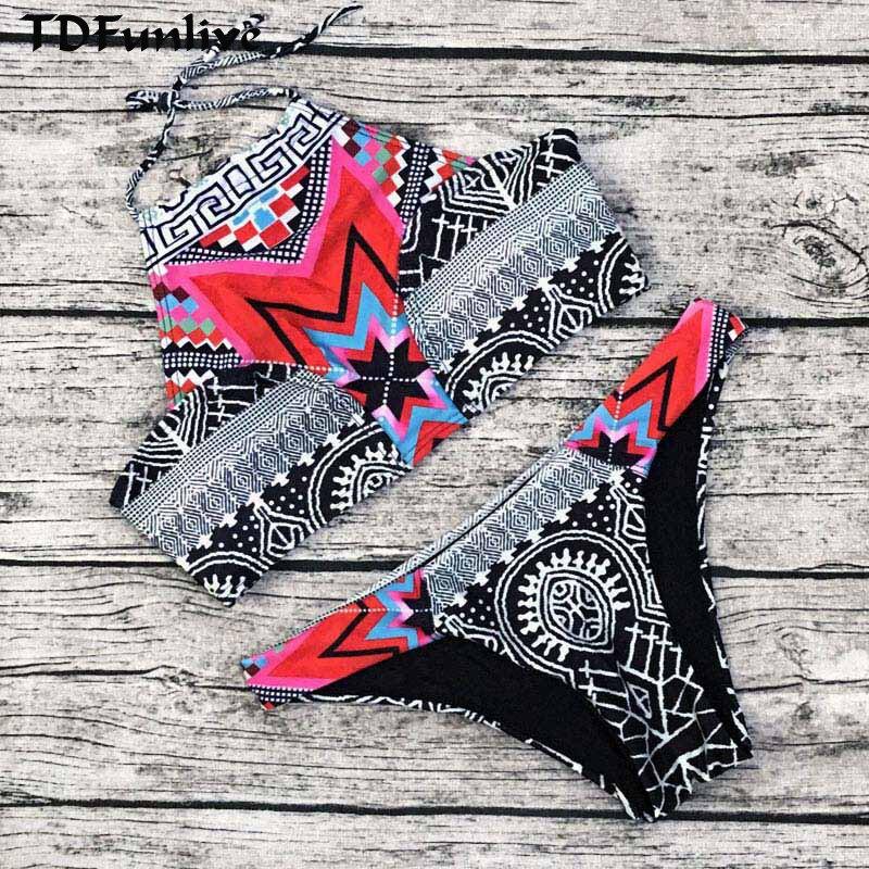 TDFunlive Բարձր պարանոցի խոչընդոտ Բիկինիի - Սպորտային հագուստ և աքսեսուարներ - Լուսանկար 1