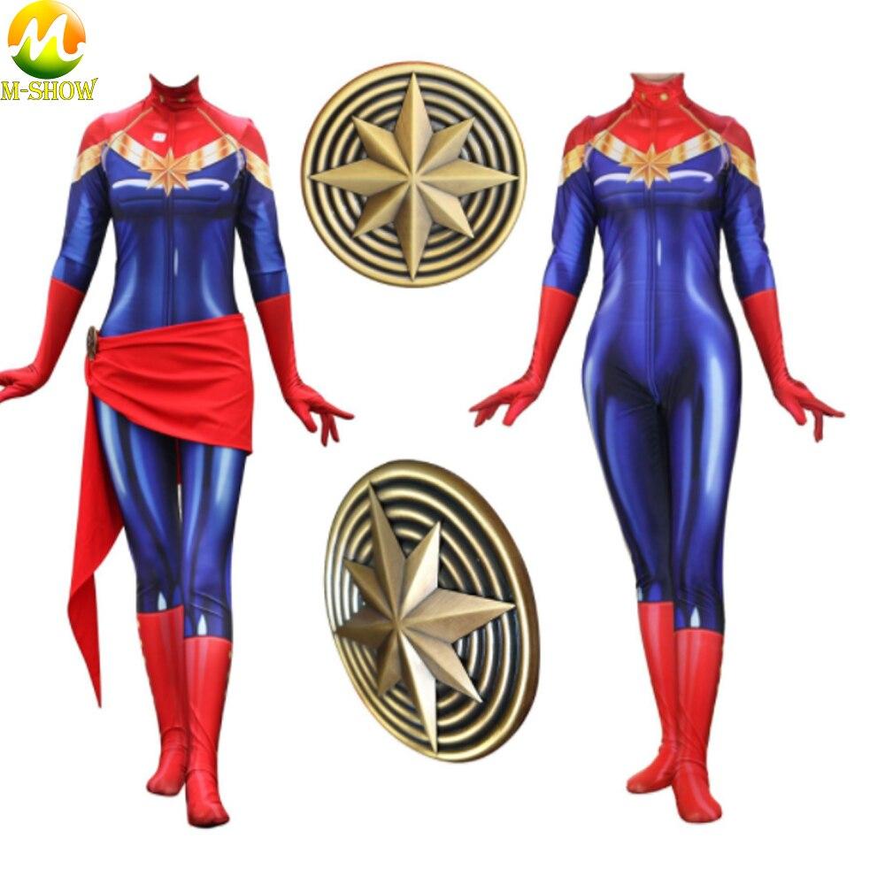 Captain Marvel Cosplay Costume Avengers Zentai Carol Danvers Cosplay Custome Women Bodysuit Jumpsuit badge For Halloween