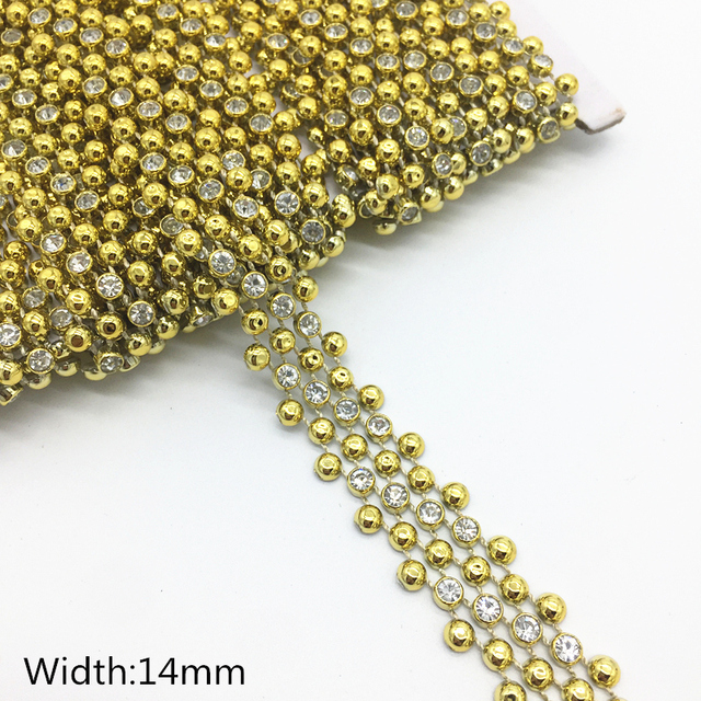 041509433d US $1.69 30% OFF 1 Yards 14mm 3 Rows Rhinestone Chain Pearl Crystal Chain  Sew On Trims Wedding Dress Costume Applique #Z-in Rhinestones from Home &  ...