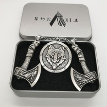 Antique Silver Odin's Raven and Wolf Axe With Wolf Head Pendant Nordic Viking Animal Amulet Necklace for Men