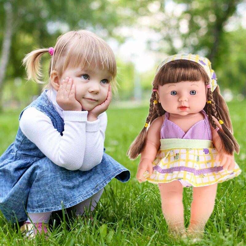Reborn Baby Doll Soft Vinyl Silicone Call Baby Mom/&Dad Newborn Speaking Toy Blue