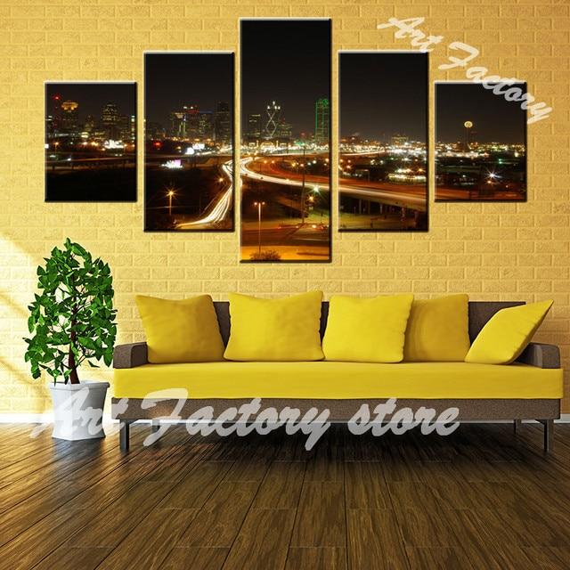 Wholesale 5 pieces Set Modern Paris City building Canvas oil ...
