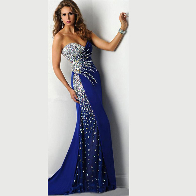 Stunning Royal Blue Sweetheart Crystals Long Long Formal Mermaid     Stunning Royal Blue Sweetheart Crystals Long Long Formal Mermaid Prom  Dresses 2016 Evening Gowns Chiffon Abendkleider