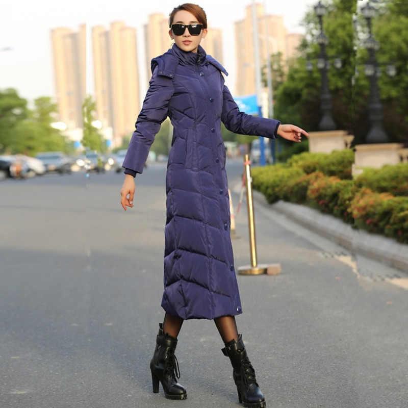 X-Long, белое пуховое пальто, куртка с гусиным пером, женские зимние куртки-пуховики, Толстая теплая парка с капюшоном, тонкая верхняя одежда, 2019 Okd384