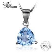 Jewelrypalace triángulo 2.4ct solitario cielo azul topacio piedra natural pura plata de ley 925 colgante de collar de 45 cm de cadena