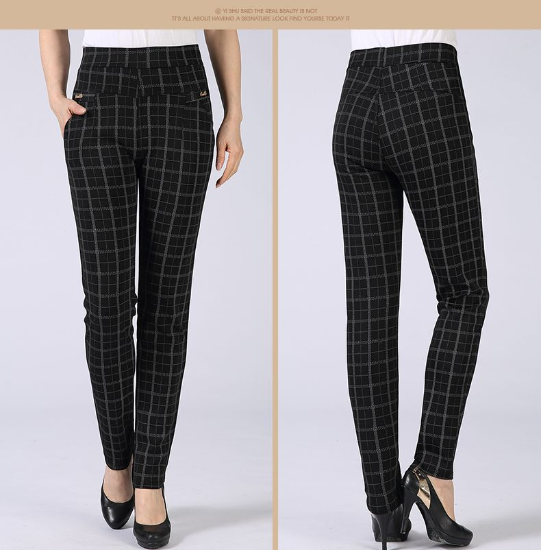 Spring Autumn Woman Casual Pant Navy Blue Black Khaki Gray Trousers Middle Aged Women Plaid Pattern Pants High Waist Trousers Mother Bottoms (15)
