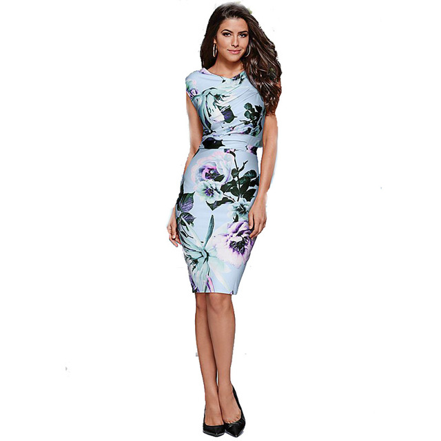 Women s Summer Dresses Fashion 2018 Print Floral Flower Hawaii Party Casual  Stretchy Sheath Pencil Bodycon Dress 4db9b8098e62