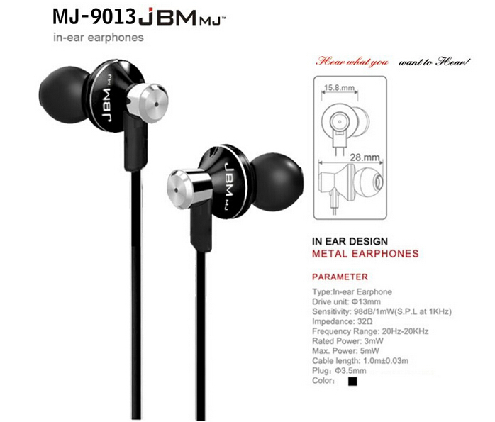 Top quality JBM MJ9013 Super Stereo Bass earphones 3.5mm Earphone With Mic For iphone 4 4c 5s HTC LG Samsung note2 3 s3