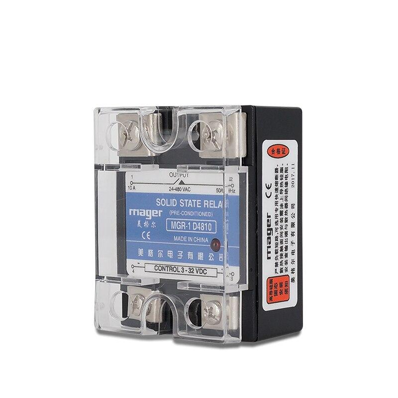 10A/25A monophasé relais à semi-conducteurs SSR-10DA/25DA MGR-1 D4810/D4825 DC contrôle AC 3-32VDC à 24-480VAC avec couvercles de protection