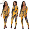 S XXXL IMYSEN Sexy Jumpsuit Women Romper Autumn Spring Deep V Neck Long Sleeve Printed Jumpsuits