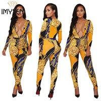 S XXXL IMYSEN Sexy Jumpsuit Women Romper Autumn Spring Deep V Neck Long Sleeve Printed Jumpsuits