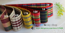 Free shipping,25mm width, 1″ (inch) woven edge gingham ribbon styles polyester scottish tartan, gift packing ribbon