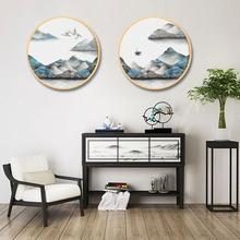 Chinese style solid wood round decorative painting simple modern living room home restaurant Abstract ink landscape