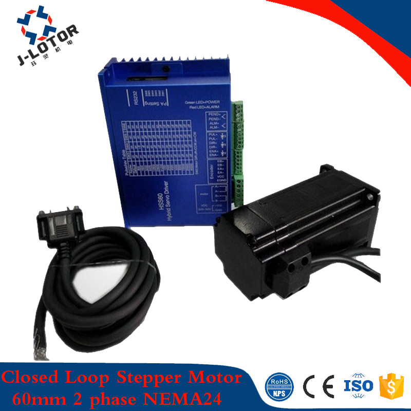 0.78N.m~1.1N.m 2A~2.8A 60mm*47mm Closed  Loop Stepper Motor JL60HS47-2008 NEMA24 With Driver And 3M Cables nema23 1 89n m 2 8a 57mm closed loop stepper motor with driver and 3m cables motor length 76mm 57hs76 2804 free shipping