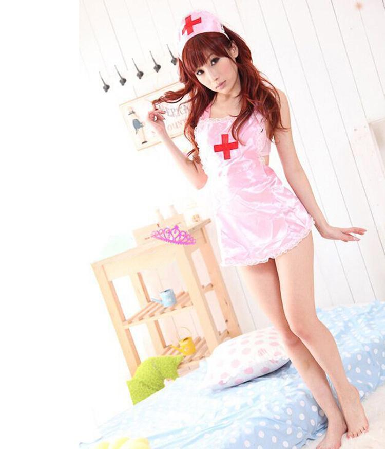 2017 temptation nurse Sexy lingerie women costumes Sexy underwear Role play Bodydolls Pink White colors
