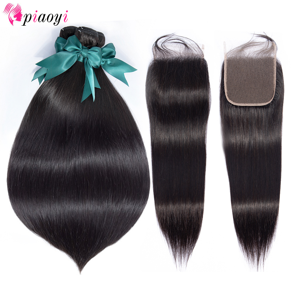 Brazillian Straight Hair Weave Bundles With Closure Remy Human Hair Bundles With Lace Closure 28 30