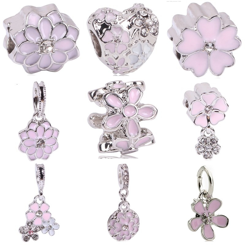 AIFEILI Lovely Pink Beads Fit Original Pandora Bracelet Necklace Big Hole Diy Charms For Women Enamel Heart Shape Pendant Gift