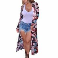 Women Boho Floral Loose Shawl Kimono Cardigan Top Cover Up Blouse Outwear Burgundy