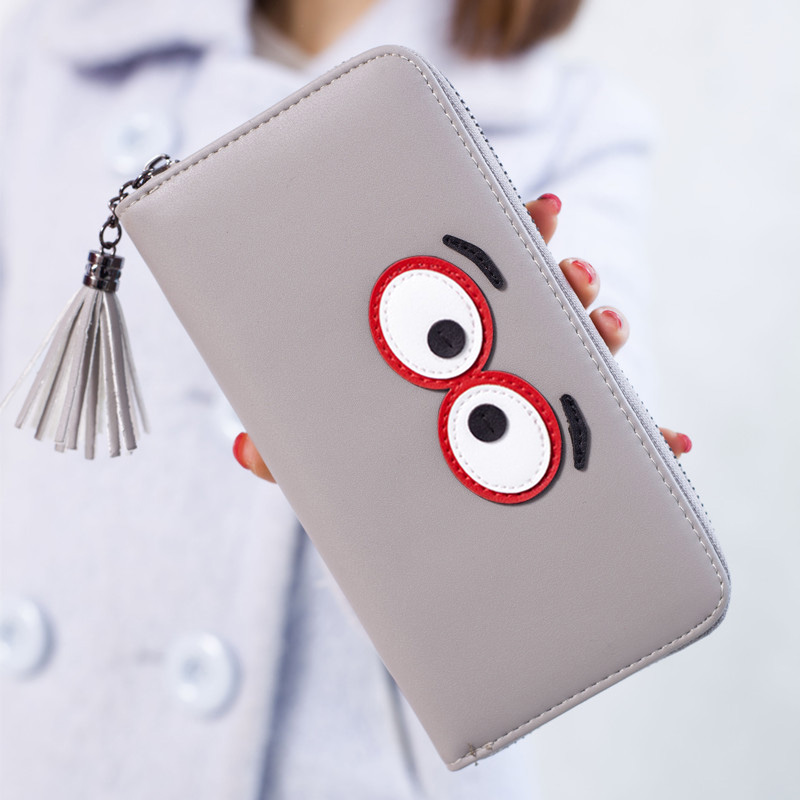 New 2017 Women Wallet PU Leather Cute Big Eyes Wallets Lady Coin Purse Credit Card Coin Long Clutch Carteira Feminina hot sale women lady long wallets purse female candy color bow pu leather carteira feminina for coin card clutch bag