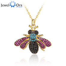Crystal Vintage Bee Insect Necklace&Pendants For Women Fashion Dress Coat Accessories Cute Jewelry Hot Sale(jewelora NE102783)(China)