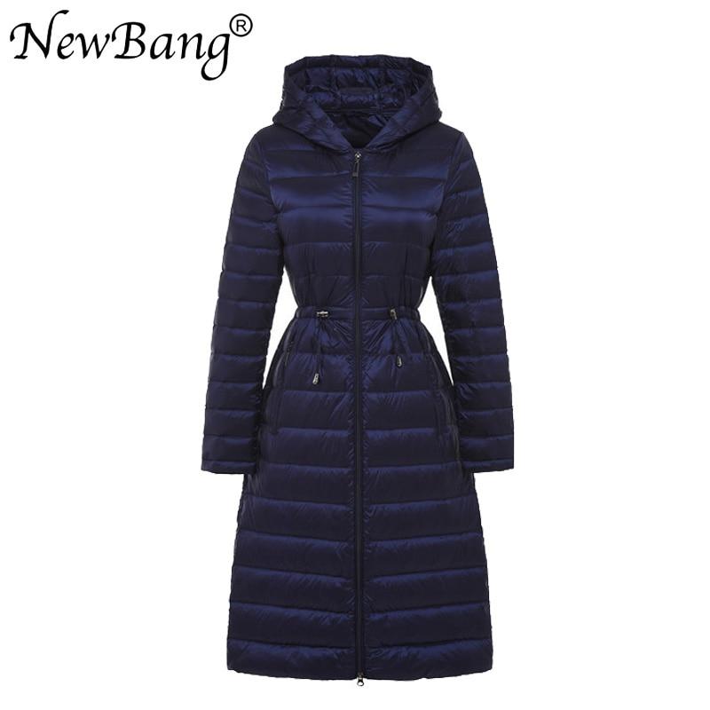 NewBang бренд осень зима Длинные легкий вес утка подпушка куртки для женщин с поясом пальто будущих мам 5 цветов пояса для верхней одежды
