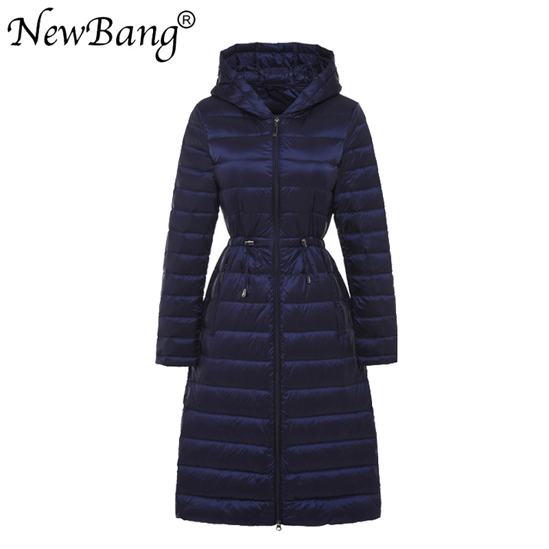 NewBang Brand Autumn Winter Long Light Weight Duck   Down   Jackets For Women With Waist Belt   Coats   5 Colors Outwear Sashes