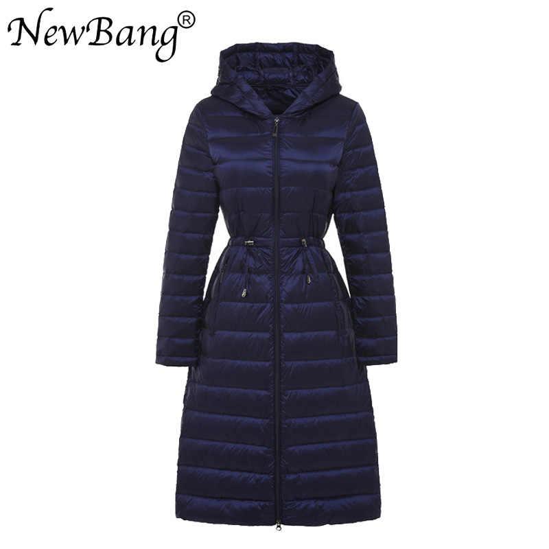NewBang бренд осень зима Длинные легкие утки пуховики для женщин с поясом пальто 5 цветов пояса для верхней одежды