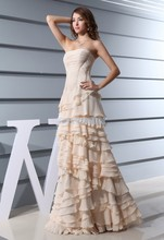 free shipping 2014 formal dress plus size new design brides maid maxi custom color long chiffon champagne evening Dresses