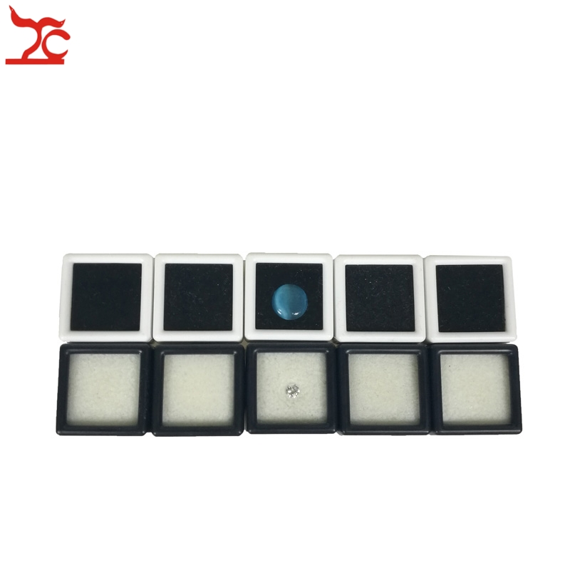 100Pcs Plastic Loose Diamond Display Package Box Square White Gem Case Black Memory Foam Pad Beads