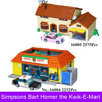 Lepin 16004 16005 The Simpsons Bart Homer The Kwik E Mart House Model Building Blocks Bricks