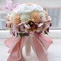 Европейский Стиль Розы Орхидея Искусственные Цветы с Алмаз Свадебные Ленты Букет Свадебные Украшения Поставки buque де флорес