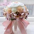 European Style Roses Orchid Artifical Flowers with Diamond Bridal Ribbon Bouquet Wedding Decoration Supplies buque de flores