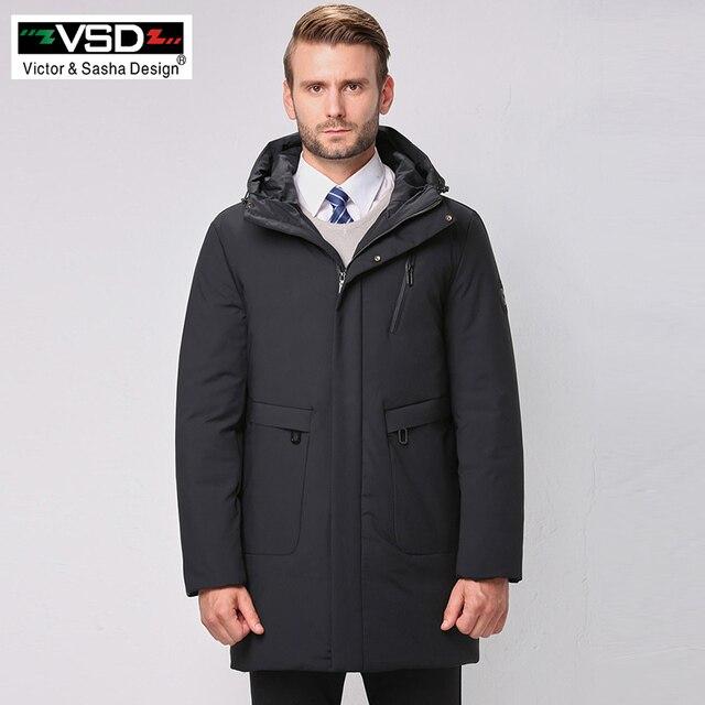 VSD/новая теплая куртка наивысшего качества, модная зимняя куртка на утином пуху, Мужская одежда, повседневное толстое пальто средней длины, мужские парки VS585