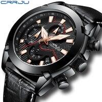 Мужские часы Crrju лучший бренд класса люкс кварцевые часы с хронографом модные повседневные деловые часы мужские наручные часы Relogio