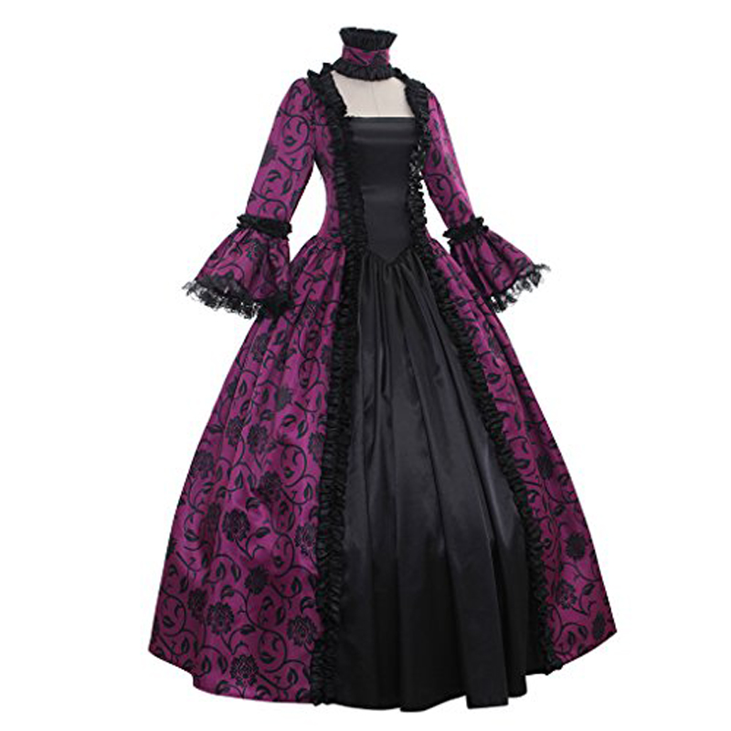 Georgian Reenactment Gothic Victorian Dress Prom Gown Theater Women Clothing