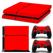 Full red Protector Cover Sticker+ 2 Controllers Skin Sticker PS4 Accessories