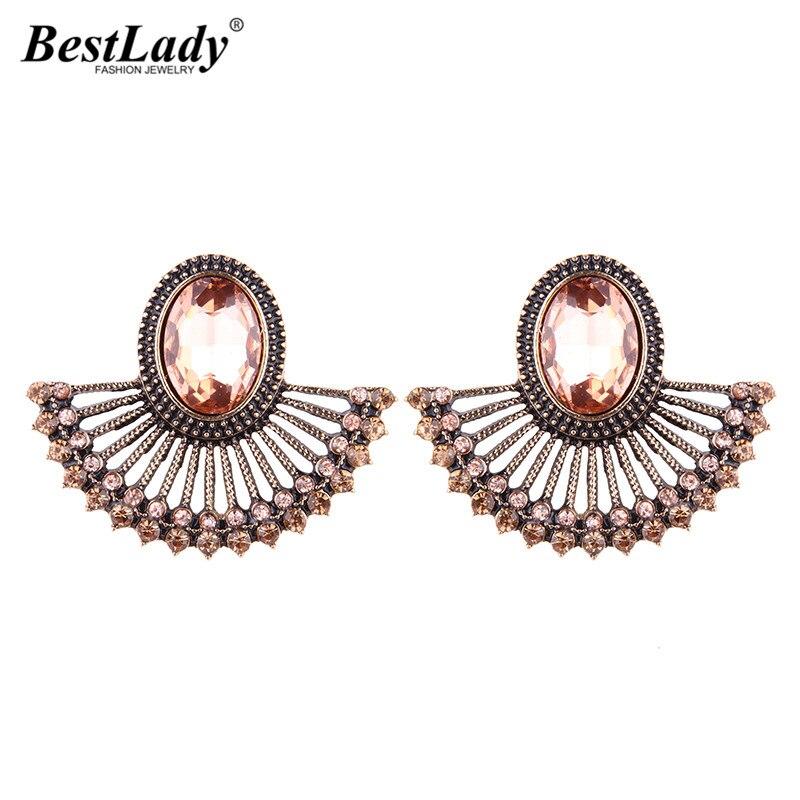 Best lady Bohemian Vintage Stud Earrings Women Sector Shaped Maxi Acrylic Cheap Wholesale Statement Earrings Boho Jewelry 5067