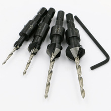 NEWACALOX 4PCS Wood Countersink Drill Bit Set Carving Tools Boring Counterbore Hex Shank Chamfer Bore Hole Cutter Woodworking
