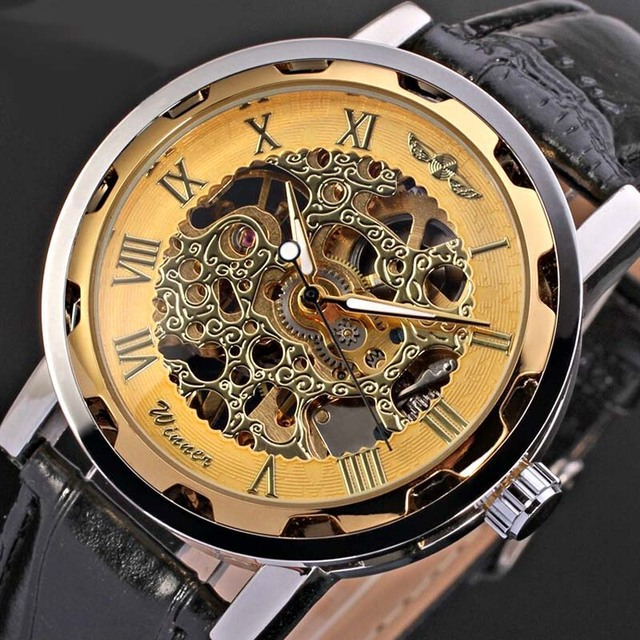 7505d5e7f0b Relogios Masculinos Logos Winner Mechanical Watch Men Gold Skeleton Gear  Mechanical Watches Luxury Men Wristwatch PU