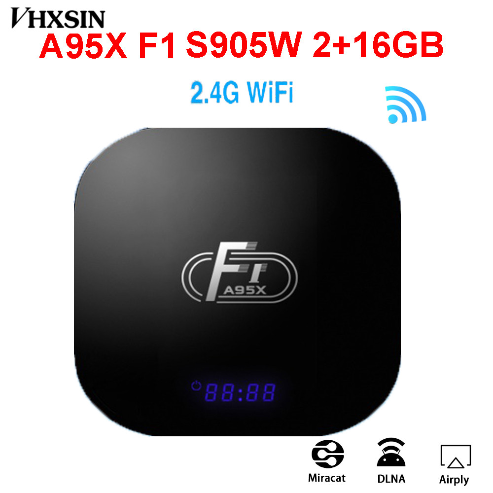 VHXSIN 10 unids/lote A95X F1 Smart TV Box Android 8,1 2GB 16GB Amlogic S905W Quad Core 2,4 GHz wiFi-in Decodificadores from Productos electrónicos    1