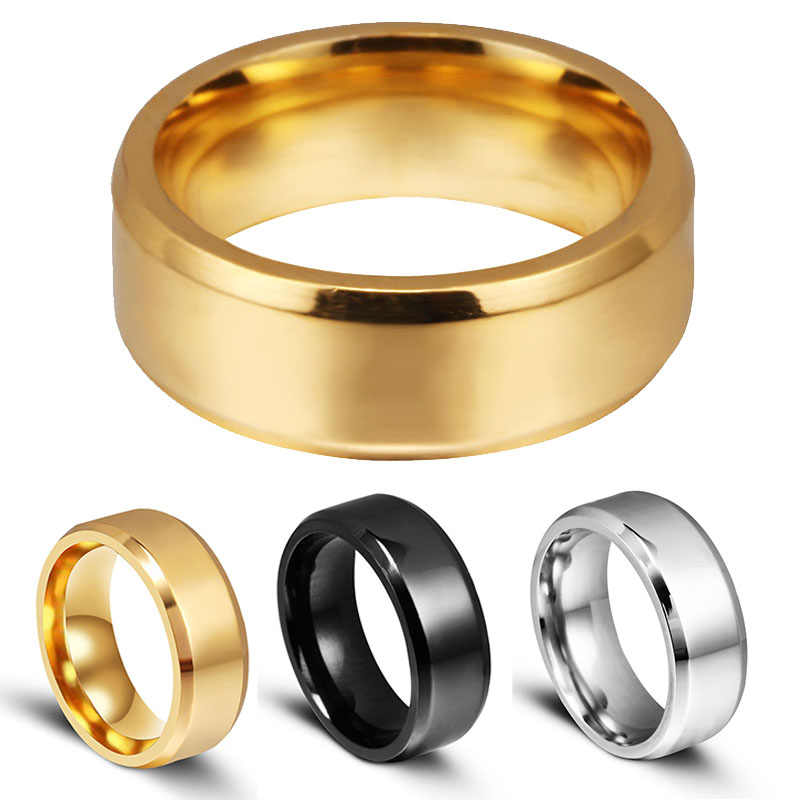 Men 8mm Titanium Stainless Ring Lover Couple Rings Multi Color Smart US Size 6 7 8 9 10 11 12 13 14 15 Wedding Engagement Gift