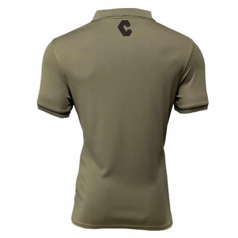 2019 العسكرية قميص قميص رياضي الرجال قصيرة الأكمام تشغيل قميص الرجال تجريب التدريب تيز اللياقة البدنية قميص رياضة بولو Rashgard