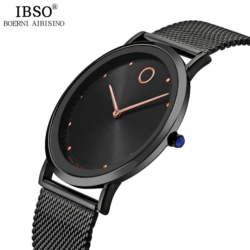 IBSO New Simple Style Ultra-Thin Mens Watch Stainless Steel Mesh Strap Fashion Men Watches Business Watch Men Relogio Masculino white stripes fashion style mesh men s underwear