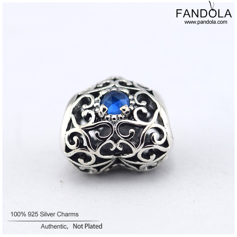 63c0050a4 ... Fits Pandora Bracelets December Signature Heart Charm London Blue  Crystal Beads 925 Sterling Silver Charms DIY ...