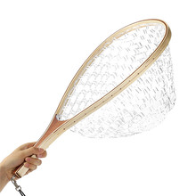Bobing 58CM Wooden Handle Rubber Net Fly Fishing Landing Trout Clear Rubber Net Mesh Large Capacity Catch Tackle Accessories